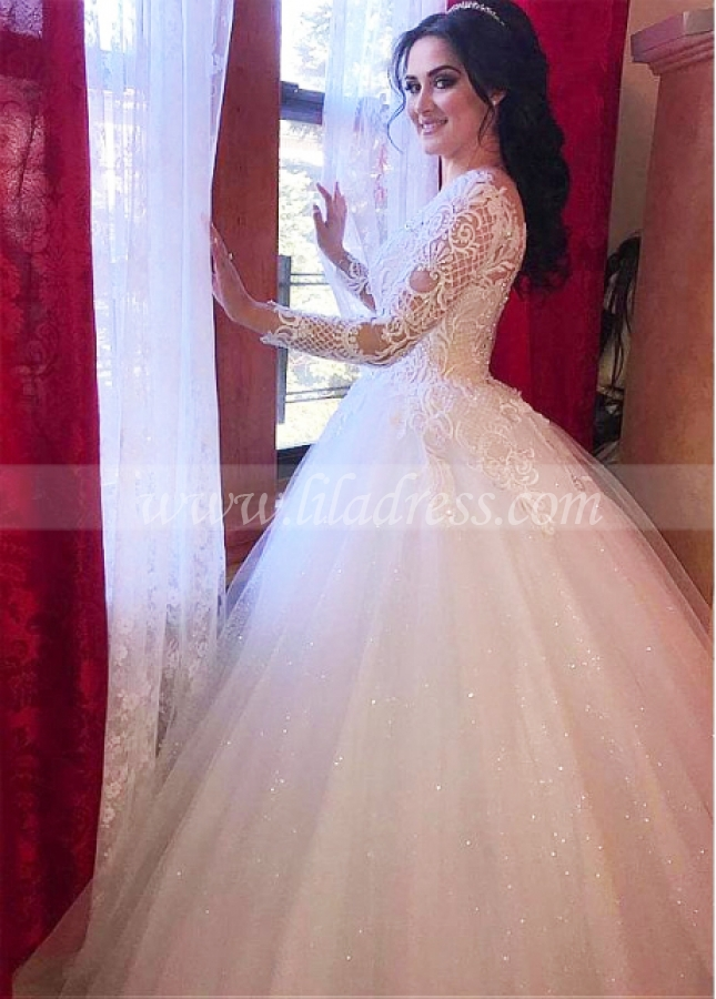 Fascinating Tulle Jewel Neckline Ball Gown Wedding Dresses With Beaded Lace Appliques