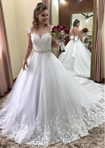 Unique Tulle Jewel Neckline A-line Wedding Dress With Beaded Lace Appliques & Rhinestones & Bowknot