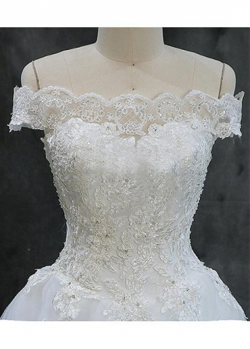 Unique Tulle Off-the-shoulder Neckline Ball Gown Wedding Dresses With Beaded Lace Appliques & Sequins