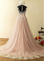 Winsome Tulle Jewel Neckline A-Line Wedding Dresses With Lace Appliques & Beadings