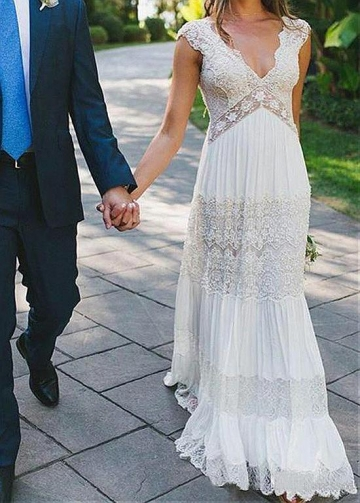 Simple Lace & Chiffon V-neck Neckline A-line Wedding Dresses With Beaded Lace Appliques