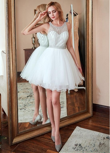Pretty Tulle Jewel Neckline Short A-Line Homecoming Dress With Bead Chians