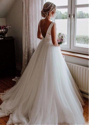Elegant Tulle & Satin Bateau Neckline V-cut Back A-line Wedding Dresses With Bowknot