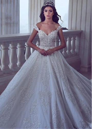 Vintage Tulle Off-the-shoulder Neckline A-line Wedding Dresses With Sequin Lace Appliques & Beadings