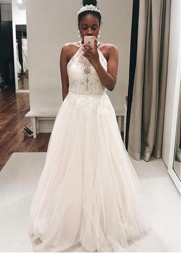 Elegant Tulle Halter Neckline A-line Wedding Dress With Lace Appliques & Beadings