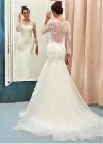 Chic Tulle Jewel Neckline Mermaid Wedding Dress With Beaded Lace Appliques