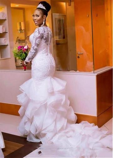 Junoesque Tulle & Organza Satin Bateau Neckline Mermaid Wedding Dress With Lace Appliques & Beadings & Ruffles