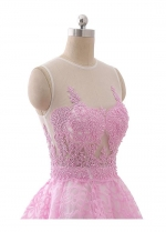 Lovely Pink Jewel Neckline A-line Short Homecoming Dress