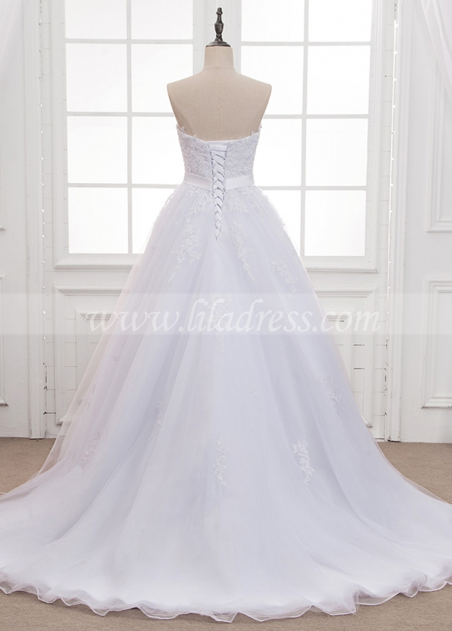 Gorgeous Tulle Strapless Neckline Wedding Dress With Lace Appliques & Belt