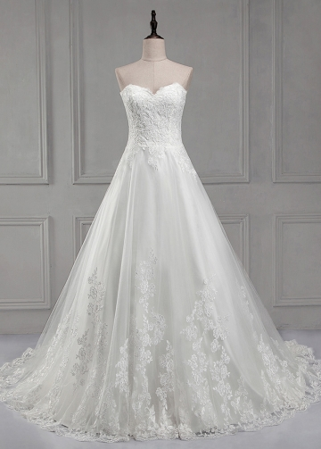 Charming Tulle Sweetheart Neckline A-line Wedding Dress With Lace Appliques