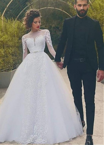 Wonderful Tulle Bateau Neckline Ball Gown Wedding Dresses With Lace Appliques & Beadings