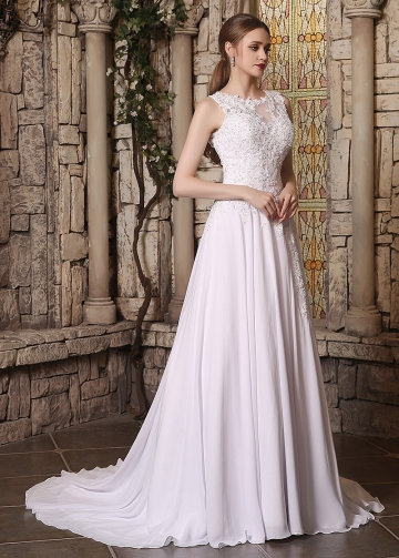 Elegant Chiffon Jewel Neckline A-line Wedding Dresses With Beaded Lace Appliques