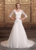 Romantic Tulle & Lace V-neck Neckline Mermaid Wedding Dresses