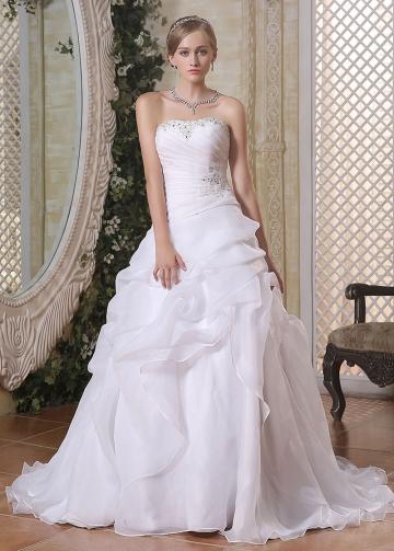 Wonderful Organza Satin Strapless Neckline A-line Wedding Dresses