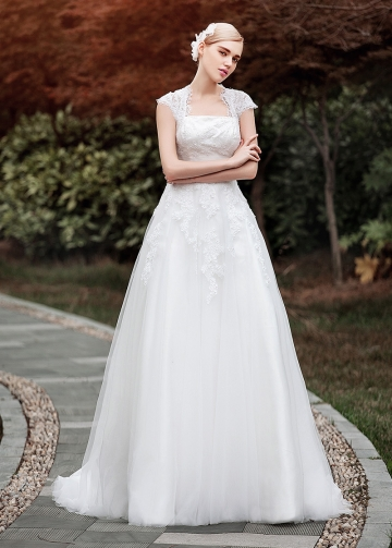 Elegant Lace & Tulle Queen Anne Neckline A-line Wedding Dresses