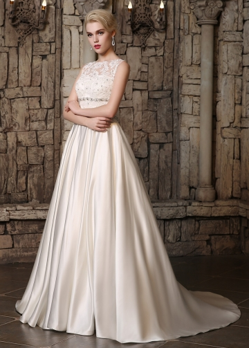 Gorgeous Satin Jewel Neckline A-line Wedding Dresses with Beadings & Rhinestones