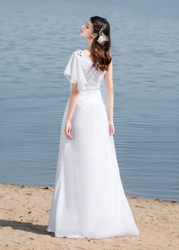 Graceful Chiffon One Shoulder Neckline Sheath Wedding Dresses