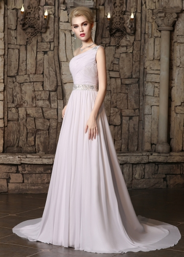 Marvelous Chiffon One Shoulder Neckline A-line Wedding Dresses with Beadings & Rhinestones