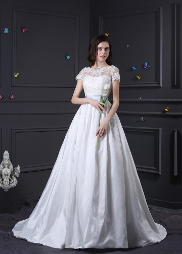 Glamorous Lace & Taffeta Bateau Neckline A-line Wedding Dress