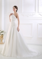 Stunning Organza Satin One Shoulder Neck Dropped Waistline A-line Wedding Dress