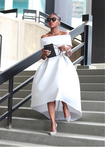 Exquisite Satin Off-the-shoulder Neckline Hi-lo A-Line Prom Dresses