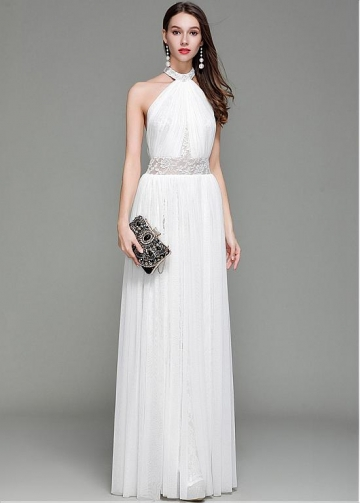 Fabulous Lace Halter Neckline Floor-length Sheath/Column Evening Dress
