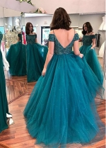 Fashion Tulle Off-the-shoulder Neckline A-line Evening Dress With Beadings