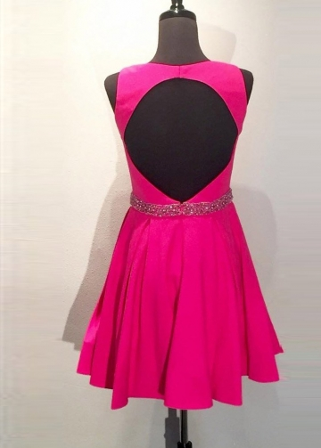 Fuchsia Satin A-line Short Homecoming Dresses with Hollow Back