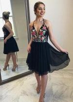 Flowers Embroidery Homecoming Dress Black Chiffon Skirt
