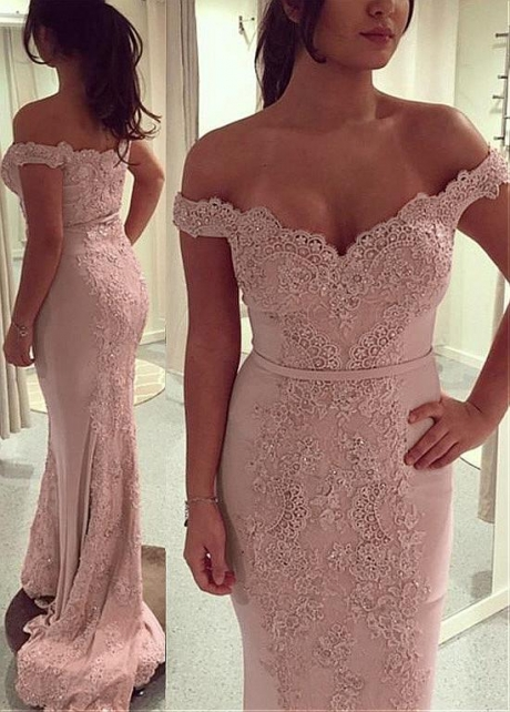 Delicate Off-the-shoulder Neckline Sheath / Column Evening Dresses With Beaded Lace Applique
