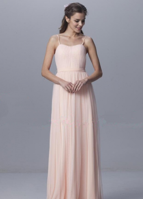 Floor Length Tulle Pink Bridesmaid Dresses with Spaghetti Straps
