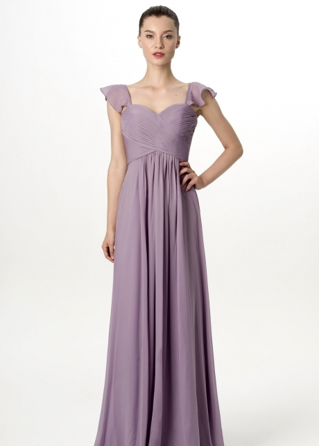 Flounced Cap Sleeves Chiffon Lavender Grey Bridesmaid Dress