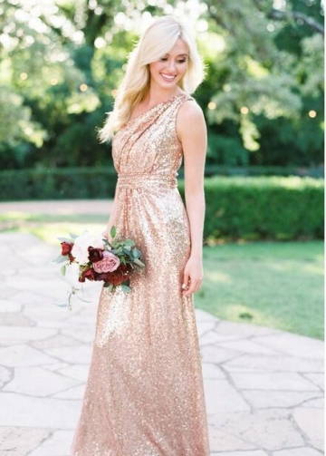 Floor Length Rose Gold Sequin Wedding Guest Dress One Shoulder