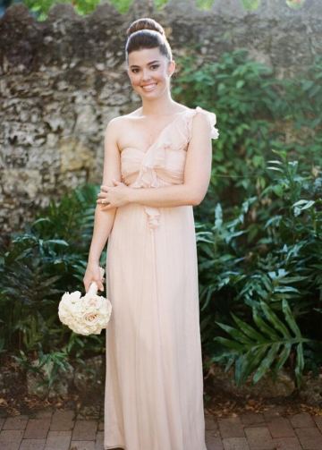 Flounced One-shoulder Chiffon Long Bridesmaid Dresses 2018