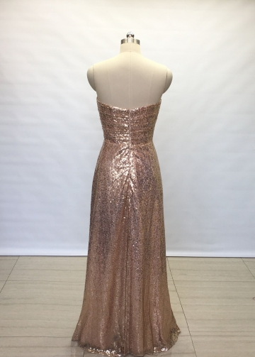 Floor Length Backless Sequin Bridesmaid Wedding Guests Dress