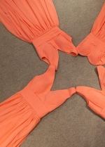Floor-length Chiffon Orange Bridesmaid Dresses V-neckline