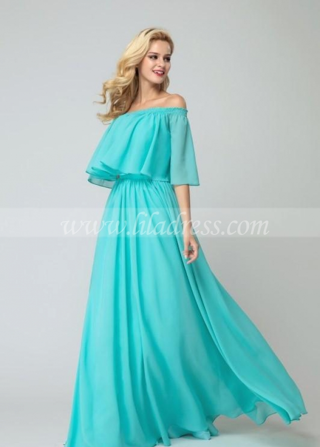 Flounced Off-the-shoulder Bridesmaid Chiffon Dresses with Side Slit