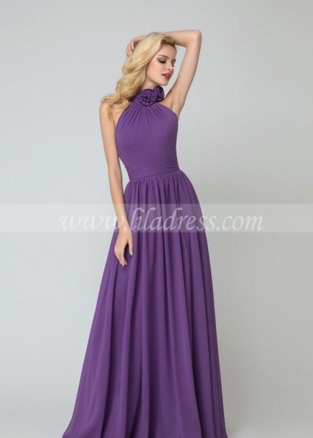 Flower High-neck Bridesmaid Dresses Purple Chiffon Skirt