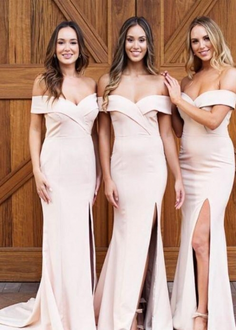 Fit&Flare Off-the-shoulder Bridesmaid Dresses with Slit Side