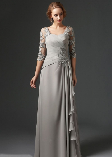 Floor Length Chiffon Gray Mothers Formal Dress with Lace Sleeves