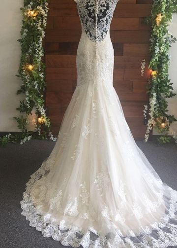 Fit&Flare Classic Lace Wedding Dresses with V-neckline