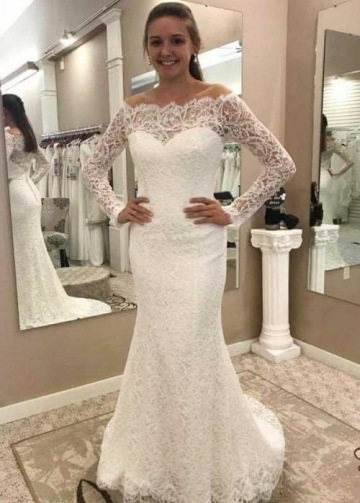 Fit&Flare Lace Off-the-shoulder Wedding Dresses with Long Sleeves