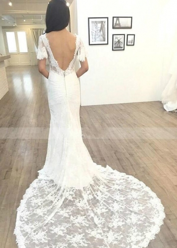Full Lace Mermaid Bridal Dress Short Sleeves