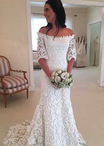 Floral Lace Bridal Dresses with Off-the-shoulder Sleeves