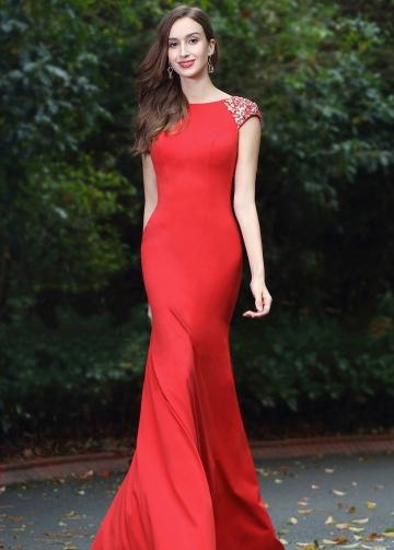 Floor Length Slim Satin Red Beaded Evening Prom Dresses Cap Sleeves