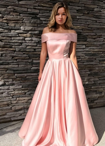 Fold Off-the-shoulder A-line Pink Satin Formal Prom Gown