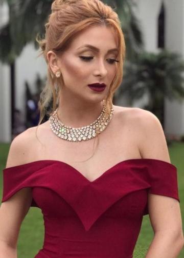 Fold Off-the-shoulder Sexy Burgundy Formal Dress with Slit Side