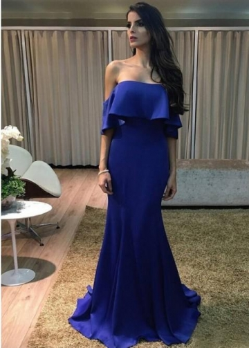 Flounce Off-the-shoulder Mermaid Sapphire Prom Gowns