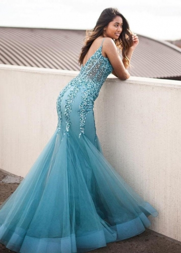 Fit&Flare Tulle Sequins and Beads Teal Prom Dresses Long