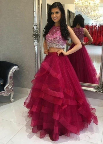 Fuchsia Ruffles Two Piece Crystals Prom Dress Online